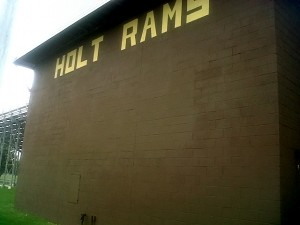 Holt Michigan high school Rams field house after Full Color Painting completed their brickwork painting project